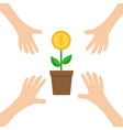 four hands arms reaching to growing money tree vector image vector image
