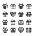 gift box icon set black on white background vector image vector image