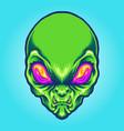green alien head angry mascot vector image