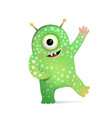 green alien monster with antennas greeting for kid vector image vector image