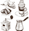 Hand Drawn Cafe Items Set vector image