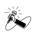 hand held microphone vector image vector image