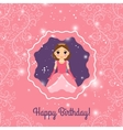 Happy Birthday pink princess greeting card vector image