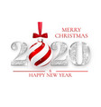 happy new year 2020 silver numbers design of vector image vector image