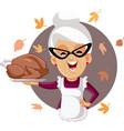 happy senior woman holding homemade thanksgiving vector image