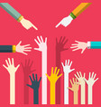 human hands flat design togetherness concept help vector image vector image