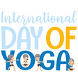 international day of yoga banner with old woman vector image vector image