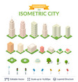 isometric city icon set vector image vector image