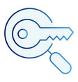 keyword search flat icon magnifying glass and key vector image vector image