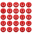 laurel wreath icons set vetor red vector image