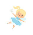 little tooth fairy flying with batooth vector image vector image