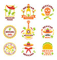 mexican food logo labels emblems and badges vector image