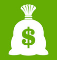 money bag with us dollar sign icon green vector image vector image