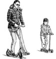 mother and son on scooters vector image vector image