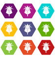 origami flower icons set 9 vector image