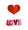 paper cut heart with red and pink love - l o v e vector image vector image