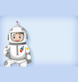 plain background template with happy astronaut vector image