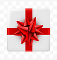 present blue box with golden ribbon on transparent vector image vector image