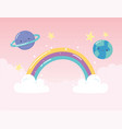 rainbow earth saturn planets stars with clouds vector image vector image