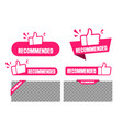recommended banner and labels set paper tag vector image vector image