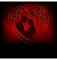 Red background with silhouettes of two lovers vector image