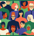 seamless pattern many different people profile vector image