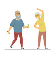senior people exercising - flat design style vector image