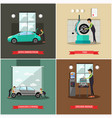 set of car service station repair shop vector image vector image