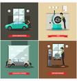 set of car service station repair shop vector image