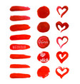set of red paint brush strokes vector image vector image