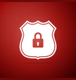 shield security icon isolated on red background vector image vector image