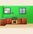 simple interior kitchen with furniture vector image vector image