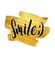 Smile Metallic Foil Shining Calligraphy Poster vector image vector image