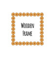 square wooden frame of tree circle logs isolated vector image vector image