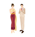 thai wedding couple greeting in traditional light vector image vector image