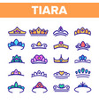 tiara royal accessory thin line icons set vector image