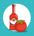 tomato ketchup healthy food vector image vector image