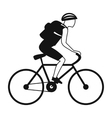 Tourist riding a bicycle with backpack vector image