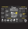 vintage chalk drawing burger menu design fast vector image vector image