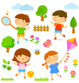 kids playing outside vector image