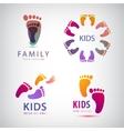 set of feet steps footprints logos vector image