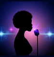 silhouette of a female singer on an abstract vector image