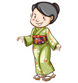 An Asian wearing a dress vector image vector image