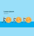 arabic businessman rolling dollar coins vector image vector image