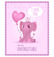 baby elephant poster kids invitation with picture vector image vector image