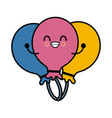 balloons celebration symbol kawaii cartoon vector image vector image