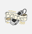 barbershop badge label logo shaving machine vector image vector image