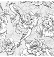BeautifulSeamless Rose Background with Birds vector image vector image