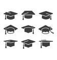 black graduation cap icon set vector image vector image