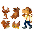 Brown animal collection vector image